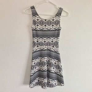 Divided Cream & Black Printed Skater Dress Size 2